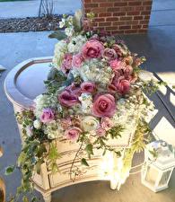 Hintergrundbilder Sträuße Rosen Hortensien Levkojen Kerzen Design Blumen