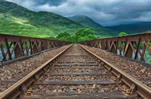 Fotos Brücken Eisenbahn Gebirge Schienen