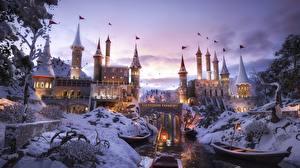Fotos Burg Flusse Winter Brücken Boot Neger Fantasy 3D-Grafik