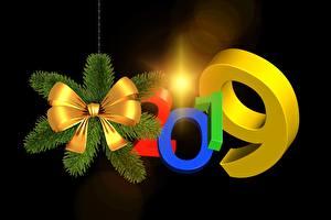 Hintergrundbilder Neujahr 2019 Schwarzer Hintergrund Schleife 3D-Grafik