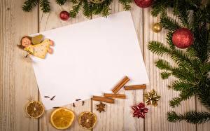 Hintergrundbilder Neujahr Engeln Bretter Ast Kugeln Blatt Papier Vorlage Grußkarte