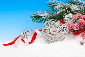 Picture New year Berry Branches Snow Heart Ribbon