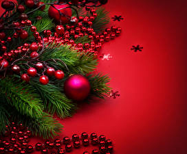 Wallpapers New year Berry Colored background Branches Balls Snowflakes