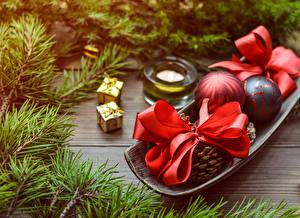 Images Christmas Branches Gifts Bow knot Balls