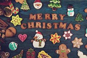 Bilder Neujahr Kekse Englisch Design Schneemänner Herz Weihnachtsmann Schneeflocken Lebensmittel