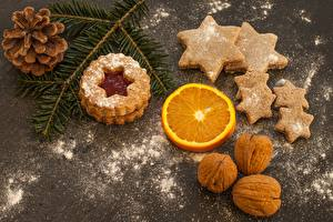 Wallpapers Christmas Cookies Nuts Powdered sugar Conifer cone Star decoration Branches Food