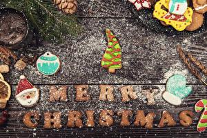 Hintergrundbilder Neujahr Kekse Puderzucker Bretter Englisch Design Tannenbaum Weihnachtsmann Fausthandschuhe