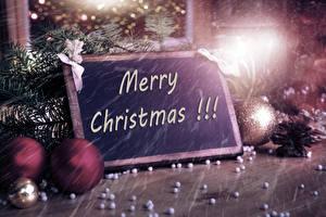 Wallpapers Christmas English Branches Balls