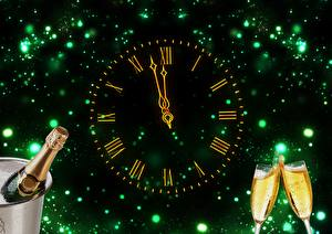 Picture Christmas Holidays Sparkling wine Clock Clock face Stemware