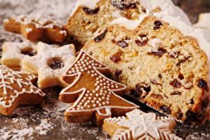 Bilder Neujahr Backware Kekse Keks Großansicht Rosinen Tannenbaum Lebensmittel