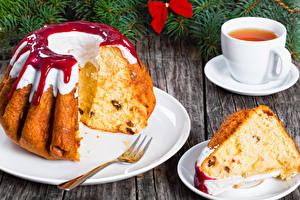 Images New year Pastry Pound Cake Tea Powidl Piece Cup Food