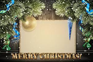 Hintergrundbilder Neujahr Band Kugeln Ast Englisch Vorlage Grußkarte