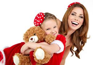 Pictures New year Teddy bear White background Little girls Happy Brown haired Children Girls