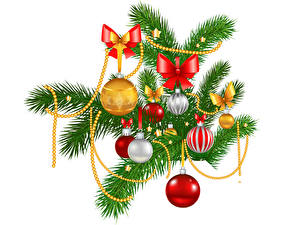 Wallpapers Christmas Vector Graphics White background Branches Balls Bowknot
