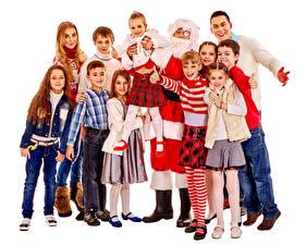 Hintergrundbilder Neujahr Weißer hintergrund Kleine Mädchen Junge Weihnachtsmann Glücklich Kinder