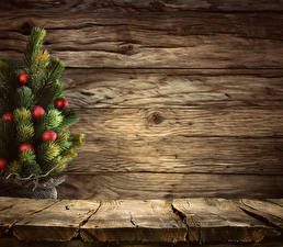 Bilder Neujahr Bretter Mauer Weihnachtsbaum Kugeln