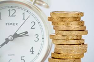 Wallpaper Clock Clock face Money Coins Closeup