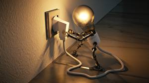 Wallpapers Creative Light bulb Electric wire Robots