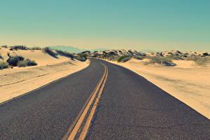 Fotos Wüste Straße Asphalt Horizont Natur