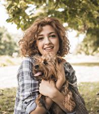 Hintergrundbilder Hund Braunhaarige Blick Hand Yorkshire Terrier junge Frauen Tiere