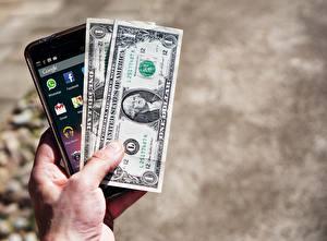 Hintergrundbilder Dollars Banknoten Geld Hand Smartphone