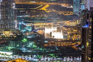 Bakgrunnsbilder De forente arabiske emirater Dubai Bygninger Megalopolis Natt byen