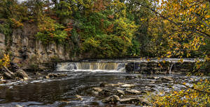 Wallpaper England Parks Autumn Waterfalls Stones Branches HDRI Richmond Nature