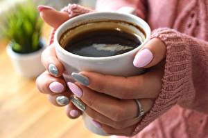 Image Fingers Coffee Closeup Hands Manicure Mug