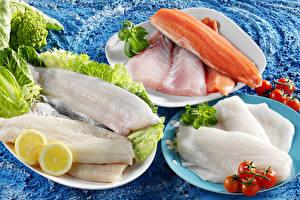 Bilder Fische - Lebensmittel Tomate Zitrone Teller Lebensmittel Lebensmittel