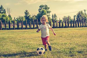 Wallpapers Footbal Boys Ball Grass Children
