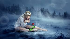 Wallpaper Forests Roses Fog Blonde girl Sit Legs Fantasy 3D_Graphics Girls