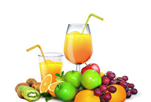 Pictures Fruit Juice Apples Grapes Kiwifruit Orange fruit White background Highball glass Stemware Food