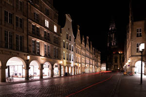 Pictures Germany Houses Roads Street Night Street lights Bicycles Muenster Cities