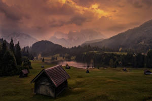 Wallpapers Germany Mountains Lake Forests Meadow Houses Evening Geroldsee Nature