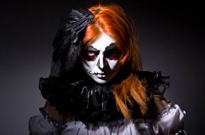 Image Halloween Witch Redhead girl Staring Makeup Girls