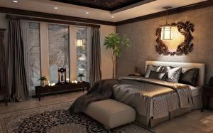 Pictures Interior Bedroom Bed Pillows Window Chandelier