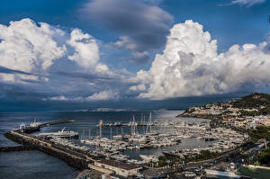 Picture Italy Houses Berth Ships Sky Bay Clouds Ischia Port of Casamicciola Cities