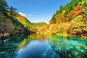Bilder Jiuzhaigou park China Park Herbst Gebirge Wälder See Landschaftsfotografie Natur