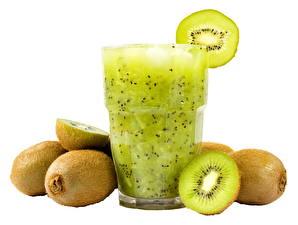 Photo Juice Kiwifruit White background Highball glass Food