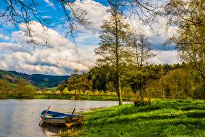 Pictures Lake Boats Forest Grass Clouds Nature