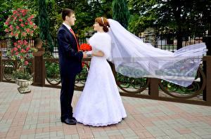 Bilder Mann Paare in der Liebe Hochzeit Brautpaar Bräutigam Zwei Kleid Mädchens