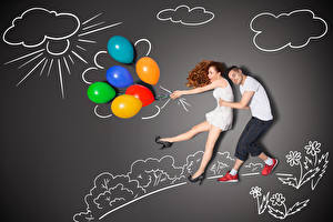 Image Men Creative Gray background Two Brown haired Hugs Toy balloon Smile young woman