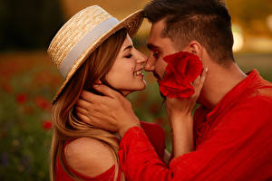 Image Man Love Couples in love 2 Brown haired Hat Hands On a date young woman