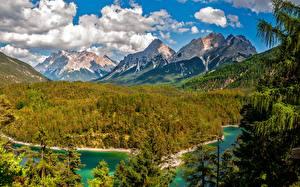 Bilder Gebirge Wälder See Landschaftsfotografie Wolke Fichten