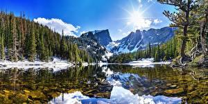 Bilder Gebirge Wälder Landschaftsfotografie See Sonne