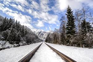 Hintergrundbilder Berg Wälder Winter Eisenbahn Schnee Schienen Natur