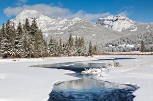 Bilder Gebirge Winter Wälder Flusse Landschaftsfotografie Schnee Natur