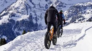 Hintergrundbilder Berg Winter Schnee Fahrrad Weg Jacke Natur