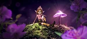 Wallpapers Mushrooms nature Elves Night time Eyeglasses Sit Fantasy 3D_Graphics