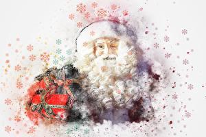 Bilder Gezeichnet Neujahr Weihnachtsmann Barthaar Geschenke Schneeflocken